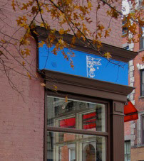 A view of the Le Fanion storefront from historic Bank Street, Greenwich Village.